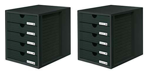 HAN Schubladenbox SYSTEMBOX 1450-13 in Schwarz – Ordnungsbox DIN A4 – Aufbewahrungsbox mit geschlossenen Schubladen 2er Set