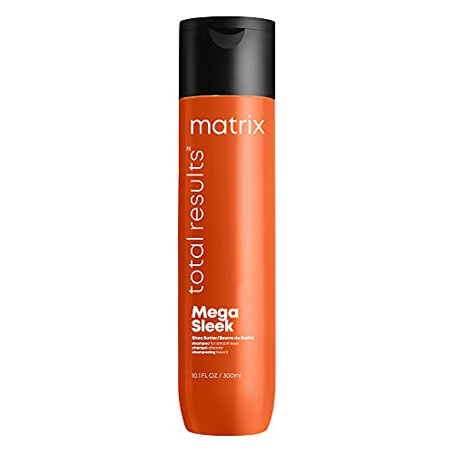 MATRIX Total Results Mega Sleek Shampoo, Controls Frizz & Smooths Hair, with Shea Butter, for Unruly Hair, 10.1 Fl Oz