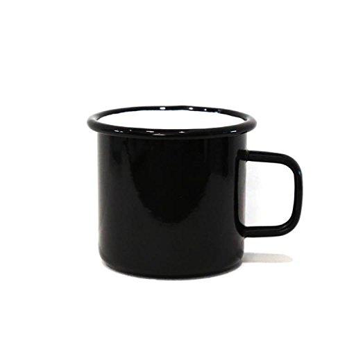 Anaan Tang Koffiemok, zwart, mok voor koffie, thee, metaal, roestvrij staal, vaatwasmachinebestendig, outdoor, camping, vuurvast, 450 ml