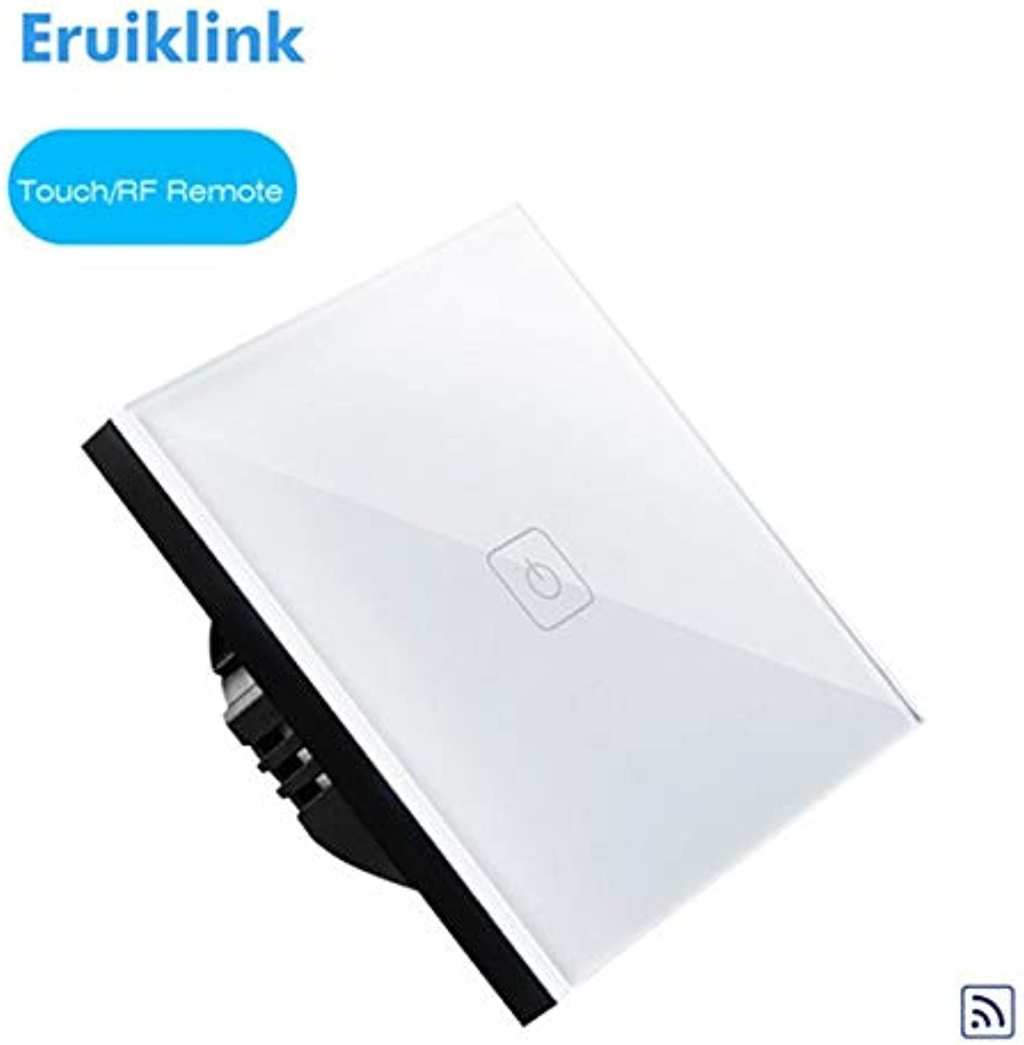 Eruiklink EU Standard Touch Remote Switch 1 Gang 2 Gang 3 Gang 1 Way, Wall Light Touch Switch, Crystal Glass Switch Panel, RF433  (color  White 1gang no RC)