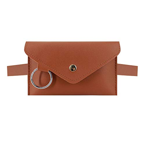 Danse Jupe Women Mini Envelope Waist Bag PU Leather Clutch Cell Phone Purse Chest Bag Brown
