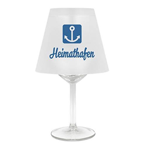 WB wohn trends Lampenschirm für Weinglas ~ Heimathafen mit Anker, blau ~ Schirm ohne Glas ~ Windlicht