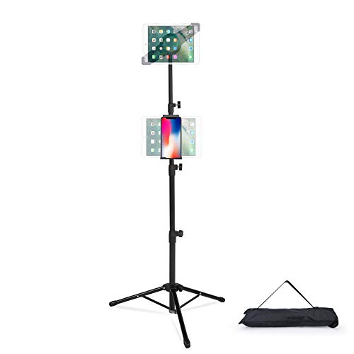 T-SIGN IPad Tripod Stand Mount Reinforced Foldable Floor, Height Adjustable, 360 Rotating for More 7 to 14.5 Inch Tablets, 7 to 10 Inch Phones, 1 Carrying Case