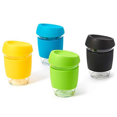 EZOWare 350ml Tazas de Café Reutilizables para Llevar, Vasos de Viaje en Cristal con Funda y Tapa de Silicona para Bebidas Calientes o Heladas, Café, Bebidas, Te - Set de 4, Colores Variados