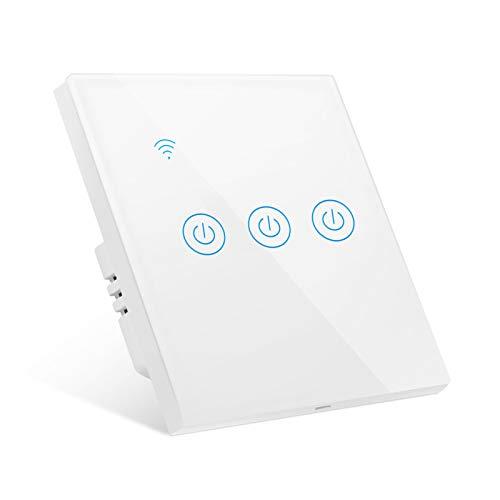 Interruptor de Pared Wi-Fi, Interruptor Luz WiFi 3 Vías Interruptor Inteligente compatible con Alexa Google Home Smart Life, Interruptor Táctil de Pared con Temporizador, No se Requiere Cable Neutral