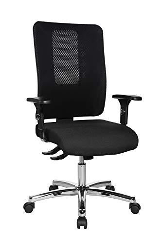 Topstar Open X (N) Chrom, ergonomischer Bürostuhl, Schreibtischstuhl, Stoffbezug, schwarz