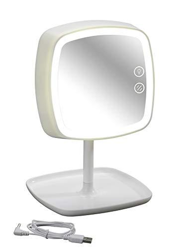 Wenko Kosmetikspiegel und Tischleuchte Ostia Make-up-Spiegel, LED Beleuchtung, Acrylnitril-Butadien-Styrol (ABS), Weiß, 18 x 19 x 29 cm