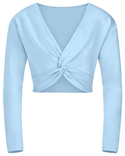 tanzmuster ® Ballettjacke Mädchen Langarm - Mia - aus sehr weichem Baumwollstoff Ballett Top zum Reinschlüpfen in hellblau, Größe 140/146