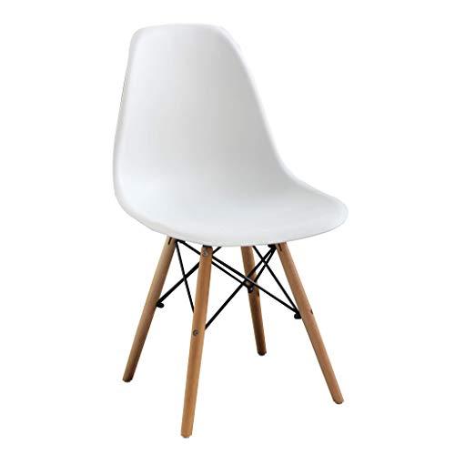 Milani Home s.r.l.s. Sedia Moderna di Design in ABS Bianca con Gambe in Legno per Interno CASA Ufficio Studio Sala da Pranzo Cucina Bar Ristorante