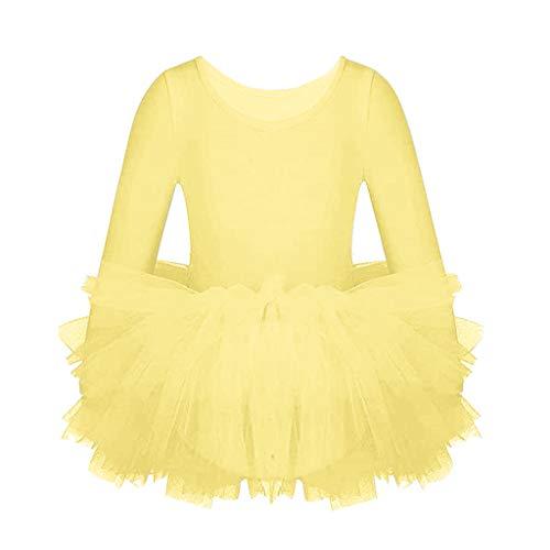 Vestido de Danza Ballet Manga Larga para Niña Maillot de Gimnasia Rítmica con Falda Tul Leotardo Elástico de Baile Disfraz de Bailarina Traje de Ballet, 4-5 Años