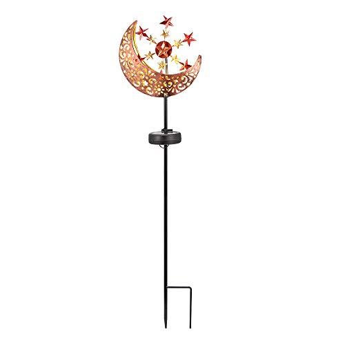 TopHGC Luces solares, molino de viento en forma de luna, luz de jardín al aire libre, estaca LED de metal impermeable, adornos de jardín para pasarela, patio, césped, patio