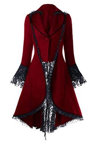 Zamtapary Chaquetas para Mujer De Esmoquin De Halloween Corsé Steampunk Gótico Victoriano para Mujer Rojo S