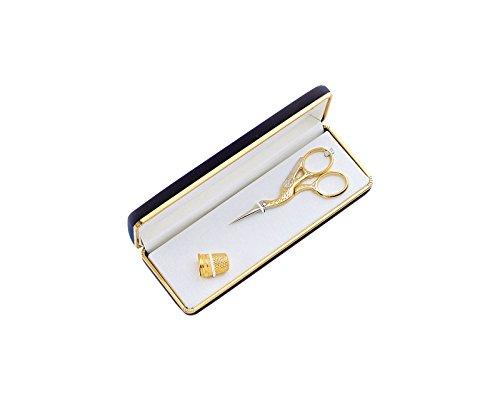 Premax 40803 Juego de Tijeras de Bordar y dedal, Oro Collection