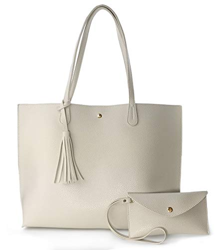Minimalist Clean Cut Pebbled Faux Leather Tote Womens Shoulder Handbag (Beige)