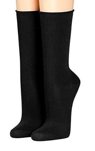 Crönert Herrensocken Longsocks mit Rollsaum Socken Design einfarbig 26600 (39-42, schwarz)