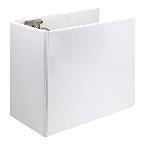 Samsill 16427 Titan Extra Large 6 Inch 3 Ring View Binder - Non-Stick Customizable Clear View Cover - Locking D-Ring - Holds Over 1250 Sheets - White