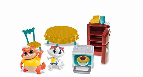 44 Gatos-Smoby Playset de Accesorios de la Cocina de la Abuela Pina con Las Figuras de Albondiga y Milady de 8 cm. -con Partes móviles 180230