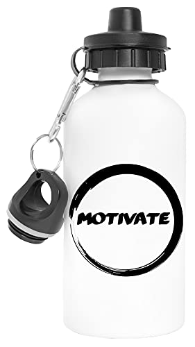 Motivate In Circle Aluminio Reutilizable Deporte Viaje Botella de Agua Blanco Aluminium Reusable Sport Travel Water Bottle White
