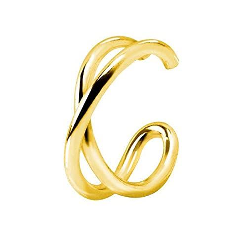 SINGULARU ® - Pendiente Suelto Ear Cuff Cross Oro para Mujer Plata de Ley 925 con baño de Oro de 18k - Joyas mujer