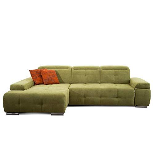 CAVADORE Schlafsofa Mistrel mit Longchair XL links / Große Eck-Couch im modernen Design / Mit Bettfunktion / Inkl. verstellbare Kopfteile / Wellenunterfederung / 273 x 77 x 173 cm(B x H x T) / Grün