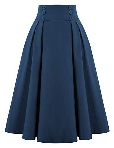 Belle Poque 2111 - Falda con bolsillos y cintura alta, estilo retro, estilo vintage, color sólido
