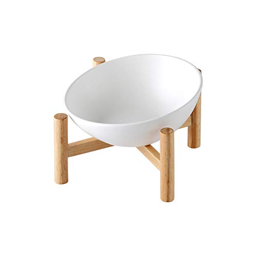 White Ceramic Tilted Elevated Raised Pet Bowl with Wood Stand for Cats and Dogs No Spill Pet Food Water Feeder Large