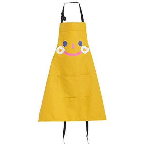 Garneck schorten voor kinderen, met tassen, katoen, verstelbaar, schort, zonder mouwen, tekening, schorten, knutselen, koken, leren, schorten, maat S, lichtgroen 46X57cm Geel.