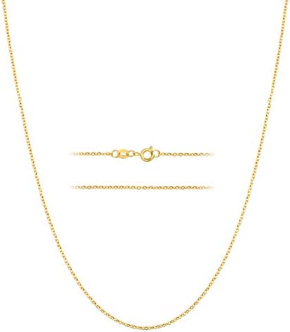 KISPER 24k Gold Over Stainless Steel 1 5mm Thin Cable Link Chain Necklace 20 inch product image