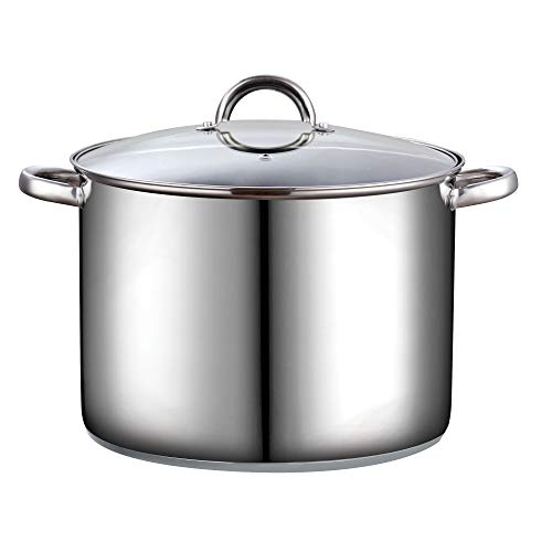 Cook N Home 16 Quart Stockpot with Lid, Stainless Steel (Renewed)