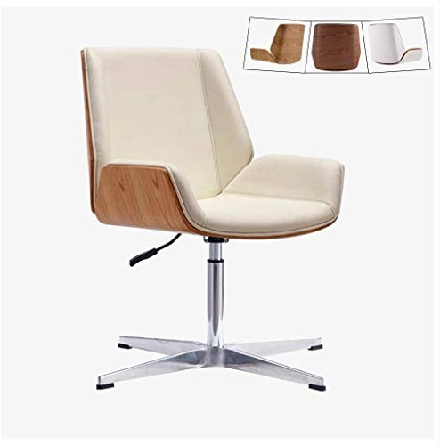 Silla de oficina Silla giratoria Silla de escritorio moderna Oficina Silla de escritorio con tapicería de cuero, silla giratoria sin brazo de altura ajustable, sillas ejecutivas de mediados de espalda