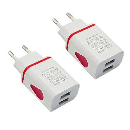 wufeng 2 Piezas de USB Cargador de Pared Doble Puerto USB 2A Pared de Salida del Recorrido del Adaptador de Enchufe de energía Compatible para el teléfono Enchufe de la UE