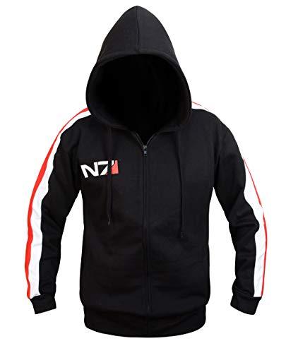 LP-FACON Men's N7 Hoodie Jacket Mass 3 Commander Shepard Costume Cosplay Black Fleece Jacket