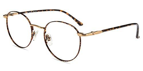 Firmoo Lesebrille 0.0 Damen mit Blaulichtfilter Leopard, Anti Blaulicht Computerbrille mit Sehstärke, Runde Lesehilfe Sehhilfe Lesebrille Herren für PC/Handy/Fernseher, Metall Vollrandbrille