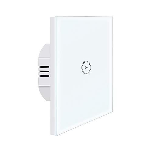 Interruptor de luz Alexa, UseeLink Interruptor de pantalla táctil de vidrio templado, 1 Gang 1 vía, Compatible con Alexa/Google Home, Control Remoto, Temporizador, se Necesita Cable Neutro (1 Pack)