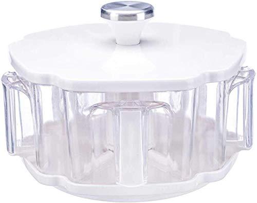 YAeele Juego de 5 Piezas, plástico ABS giratoria condimento Rack EM Tarro de plástico Especias, Tapa y Cuchara, humanizado diseño, Creativo, for la Cocina casera de Barbacoa Herramientas de Cocina