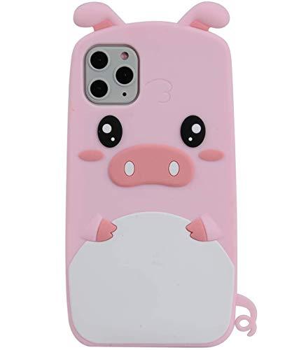 TopFunny Hüllen für iPhone 11 Pro Max Hülle Silikon 3D Cute Cartoon Pink Pig Design Soft TPU Bumper Gel Cover Stoßfest Case Kompatibel mit Apple iPhone 11 Pro Max 6,5 Zoll Cute Pig