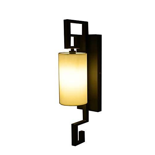 Dicai Dormitorio chino Lámpara de noche Lámpara de pared Luz de tela Impresión Hierro Simplicidad Lámpara de pared Decoración retro Aplique de pared Sala...