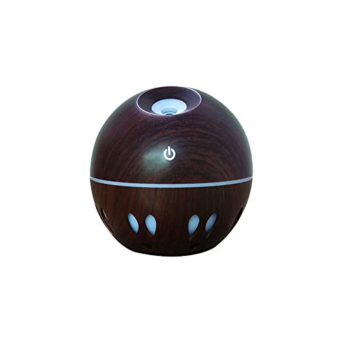Crazypig Portable Cool Mist Humidifier Air Aroma Essential Oil Diffuser with Colorful Light for Bedroom Living Room for Dry Cough, Nose, Skin & Eyes Best Gift (Brown)