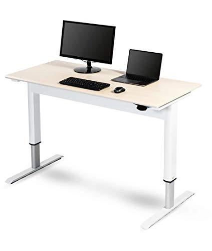 Pneumatic Adjustable Height Standing Desk (56', White Frame/Birch Top)
