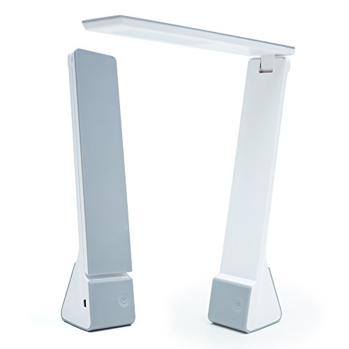 Lustrat LED Minimalistic Desk Lamp | Portable Light Rechargeable Lamp with Bed, Study & Work Light Choices | Adjustable Table Lamp for Customizable Light (Silver)