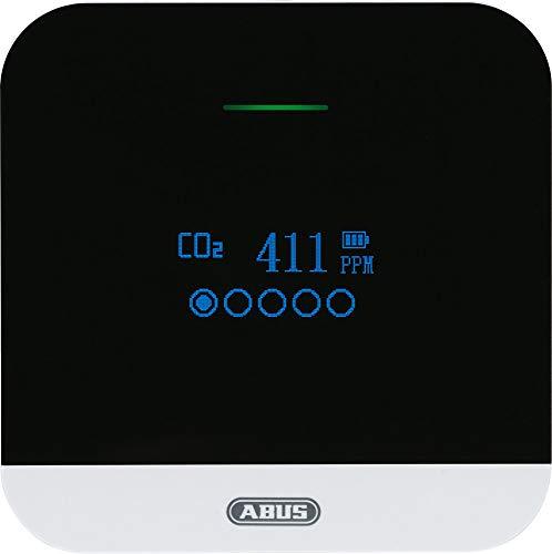 ABUS Rilevatore di CO2 – CO2WM110 AirSecure – Misuratore di qualità dell aria, umidità e temperatura nella stanza – con allarme e anidride carbonica – Sensore 10 anni