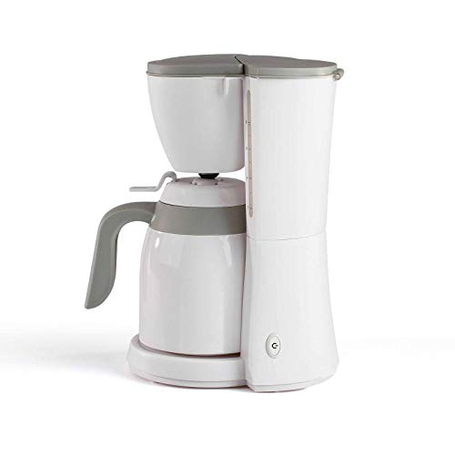 Koffiezetapparaat met thermoskan, wit, voor 12 kopjes, thermoskan, koffiezetapparaat, filterkoffie, automatische uitschakeling, waterniveau-indicator.