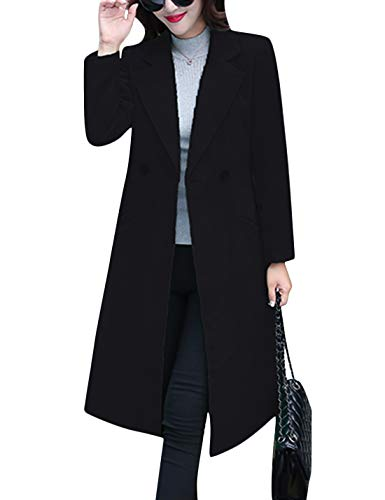 Tanming Women's Notch Lapel Double Breasted Wool Blend Mid Long Pea Trench Coat (Black, Large)
