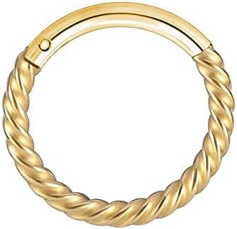 TonyJameJPStore ZS 1PC Brass Septum Piercings 20G Nariz Piercings Nose Rings Daith Piercings Nariz Earrings Conch Rook Piercings Body Jewelry - 10mm - C Gold