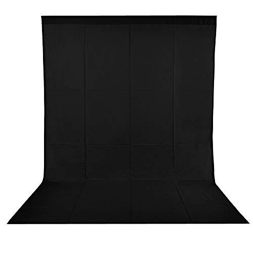 BDDFOTO 1,8 x 2,8m Photo Studio Foto Hintergrund Schwarz 100% Reiner Baumwolle Muslin Faltbare Blackscreen Background für Fotografie, Video und Fernsehen - Schwarz