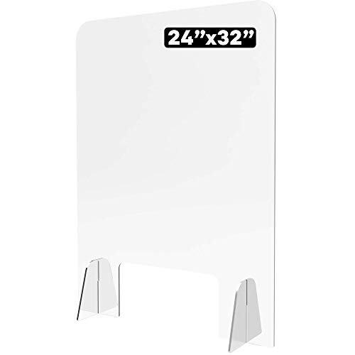 Shield Geek Economy Plexiglass Shield for Counter - Acrylic Sneeze Guard with Larger Opening at the Bottom - Crystal Clear - for Business, Cashier Counters and Restaurants - 24' x 32'