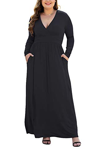 HAOMEILI Womens Long Sleeve Casual Plus Size Maxi Dresses with Pockets 4XL, Black