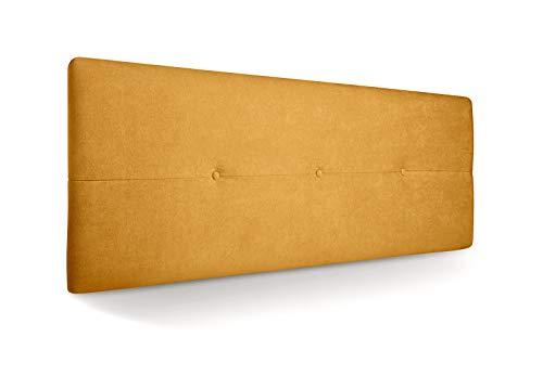 SUENOSZZZ - Cabecero de Madera Jazmin, tapizado Acolchado, en Tela Rio9 Color Mostaza Cabeceros Madera para Dormitorio | Cama Matrimonio | Cama Juvenil | Camas de 135 cm, 140 cm, 150 cm, 160 cm