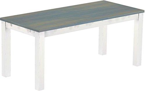 Brasil Furniture Eettafel Rio Classico grootte en kleur landhuis selecteerbaar houten tafel massief grenen, eetkamertafel keukentafel echt hout uittrekbaar klaar voor aansteekplaten landhuis Tisch 180 x 80 cm 214 duifgrijs wit
