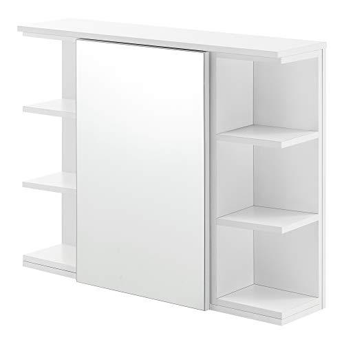 [en.casa] Badezimmer-Wandschrank 64 x 80 x 20 cm Spiegelschrank mit Tür und 3-3 Ablagen Hängeschrank Spanplatte Weiß